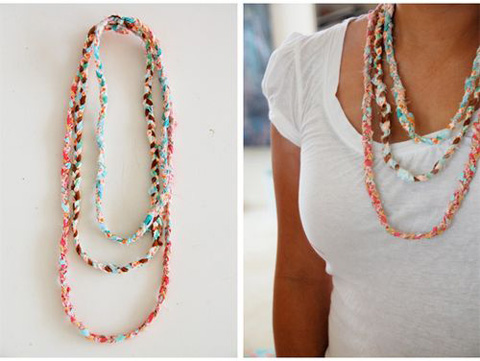 braided fabric necklace