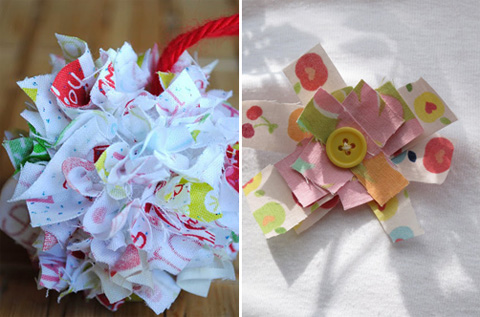 fabric scrap ornaments, fabric scrap pins